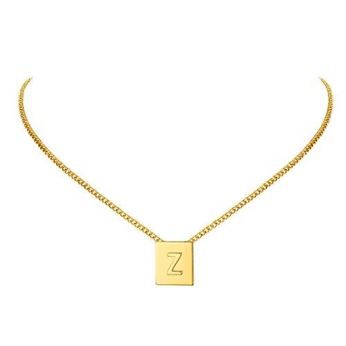 Sexy Collection Charm Choker - Letra Z caja alta colgante cuadrado en collar ajustable 16 pulgadas - Acero inoxidable con baño de oro