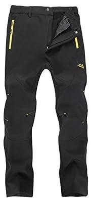 Singbring Women's Outdoor Fleece Waterproof Ski Snow Hiking Pants W28-W30 Medium Black(01F/L31/M)