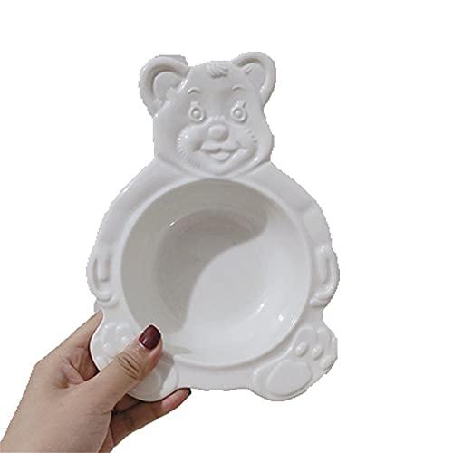 Bandeja de postre con diseño de oso de dibujos animados para postre y cereal con plato de cerámica y cubiertos para ensalada, cuenco plano para sopa, bandeja para hornear, vajilla de cocina (color: A)