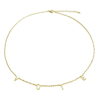 Taouzi Vote Necklaces Encourage Voting Necklaces First Lady Necklaces Stainless Steel Initial Necklaces Fashion Popular Letter Necklaces for Women Girls