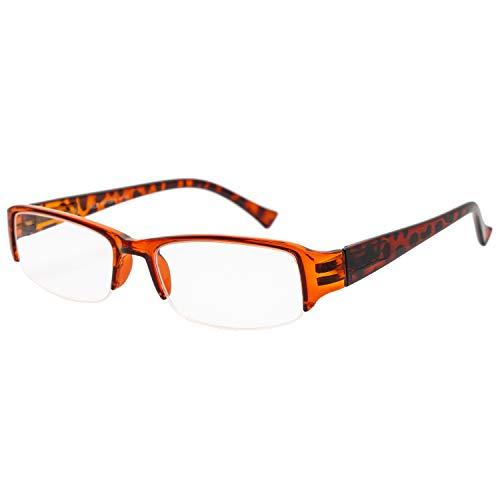 エール 老眼鏡 2.0 度数 ハーフリム バネ蝶番 ブラウン デミ AH108S