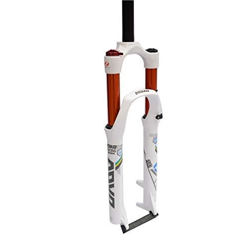 Horquilla de suspensión de bicicleta MTB de 26/27.5/29 pulgadas, ajuste de amortiguación HL 120 mm de dirección recta, QR 9 x 100 mm (color: blanco, tamaño: 27.5 pulgadas)