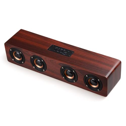XDXDO Altavoz Bluetooth inalámbrico, Altavoces portátiles de Escritorio con Sistema estéreo de Graves de Madera, 4 Altavoces, con 8 Horas de reproducción, Soporte para Tarjeta TF de 12 W AUX