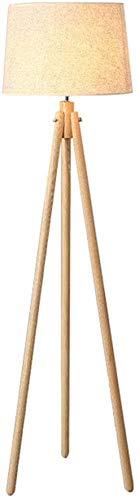 LOKKRG Lámpara de pie trípode,lámpara de pie de Madera con Pantalla de Tela de Lino,Enchufe E27 e Interruptor de pie,lámpara de pie para Sala de Estar,Sala de reuniones,Altura 155 cm