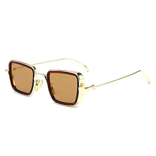 Nuevas gafas de sol explosivas de la India Gafas de sol de tendencia de montura de metal con bordes gruesos retro para hombres: rebanadas de té de círculo de té con marco dorado