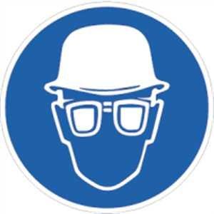 Sticker pictogram oogbescherming en hoofdbescherming folie 2 cm Ø 10 pictogrammen/vel