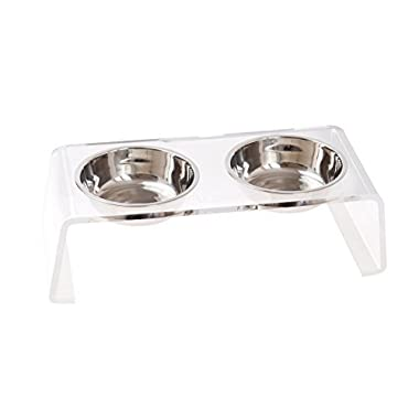 Lubber Acrylic 4'' Feeder Stand for Cats and Dogs with 2 Stainless Steel Bowls