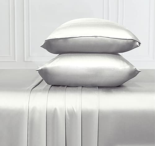 Soft & Silky Cooling Sheets Fabric from 100% Bamboo, Wrinkle Resistant California King Sheets Bamboo with Deep Pocket Fitted Sheet, Rayon (Silver Gray)