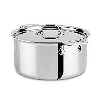 All-Clad 4508 Stainless Steel Tri-Ply Bonded Dishwasher Safe Stockpot with Lid / Cookware Silver