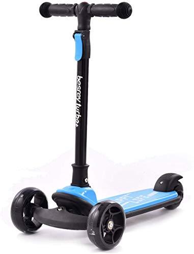 papasbox Roller für Kinder, Kleinkinder Scooter, Faltbar System Roller ab 1 Jahr Spielzeug für Kleinkinder und Kinder, 4 Hebe- und Leuchträder (Blau)