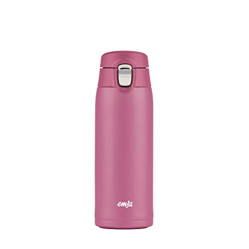 Emsa N21511 Travel Mug Light Thermo-/Isolierbecher aus Edelstahl | 0,4 Liter | 8h heiß | 16h kalt | BPA-Frei | 100% dicht | auslaufsicher | spülmaschinengeeignet | Klappverschlussystem | Rosa