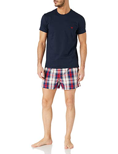 Emporio Armani Underwear Pyjamas Yarn Dyed Woven Set Pajama, Crema/Poppy/Mar, M Uomo