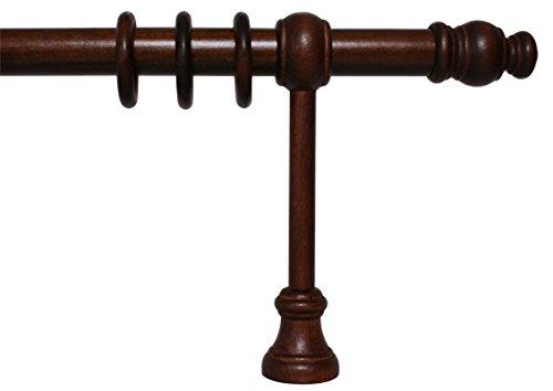 iso-design Gardinenstange aus Holz mit 28 mm Durchmesser in Nußbaum, viele Größen, 300 cm mittig geteilt