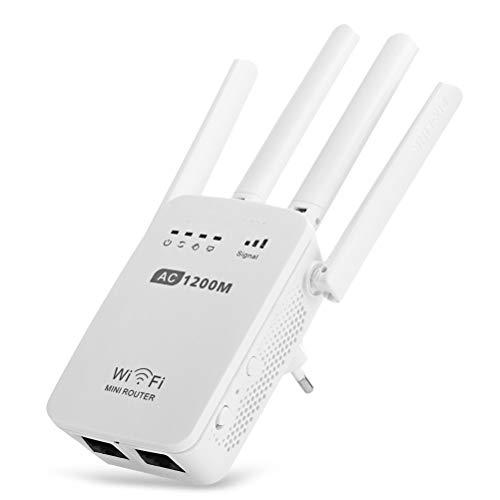 MC.PIG Extensor de Alcance WiFi - Repetidor inalámbrico Ac1200M Extensor de Rango Universal - Extensor de Banda Ancha/Wi-Fi Plug and Play para Cobertura WiFi en Todo el hogar