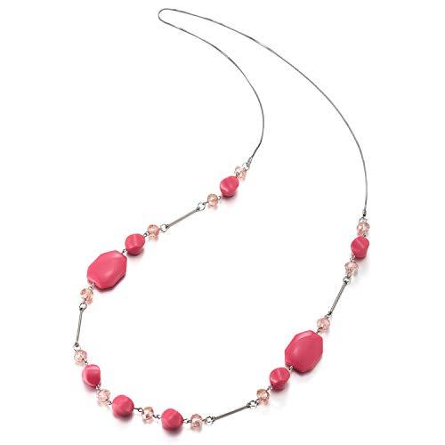 iMECTALII Boemo Hipster Statement Dichiarazione Collana Lunga Rosa Perline Catena con Cristallo Perline Charms Pendente