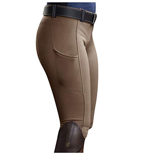 IZHH Reithose Reitleggings Damen Mädchen mit Kniebesatz und Innentasche, elastische Jodhpurhose-Tights für Reitschule Reitsport