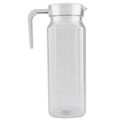 Jarra de acrílico con tapa y asa, botella de jugo a rayas acanaladas Cristalería Vaso de agua Dispensador de agua helada para uso doméstico(1100ml)