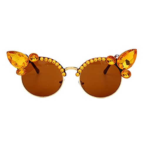WOJING Vintage Diamond Gafas de Sol Mujer Gafas de Sol Gafas de Sol Rosa Cristal Azul Cristal Punk GAPAS DE Soles Hombres SHUES UV400 OKULARY