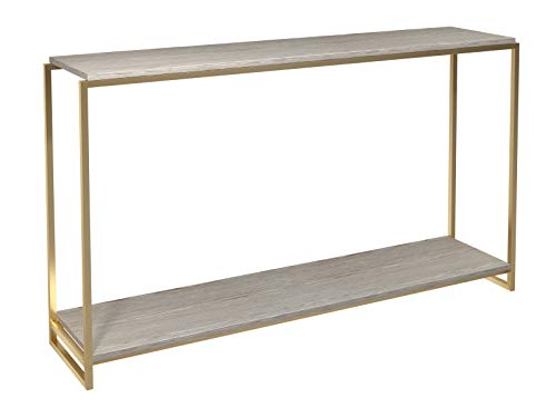 Narrow Console Table - Weathered Oak Shelves With Brass Frame