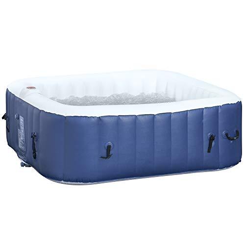 Outsunny Spa Gonflable carré 4 Personnes dim. 1,85L x 1,85l x 0,65H m - 100 Buses d'air Hydro-massantes - Fonctions Chauffage Filtration - Liner PVC Blanc Bleu