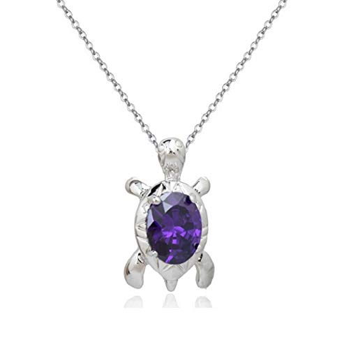 Turtle Pendant Necklace with Purple Violet Zirconia Crystals 18 ct White Gold Plated for for Women and Girls 18'