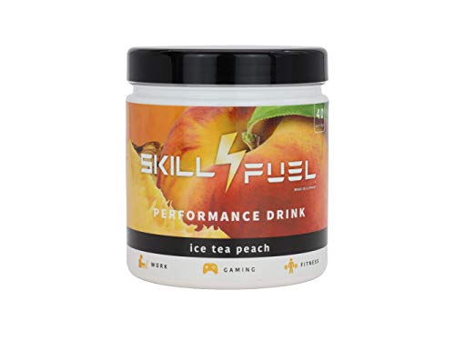Skill4Fuel® | Performance Drink | 2 Phasenwirkung | NewCaff & Koffein | mit Nootropica | 400g | 80 Scoops (Ice Tea Peach)
