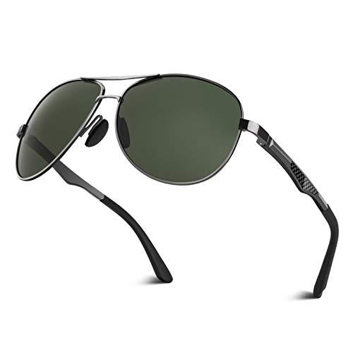 CGID Sonnenbrille Herren Pilotenbrille Polarisiert Piloten Polarisierte Sonnenbrillen Männer Pilot Unisex Prämie Al MG Metall Rahmen Gun Grün Uv Schutz 400 UV400,GA61, Cat.3, CE