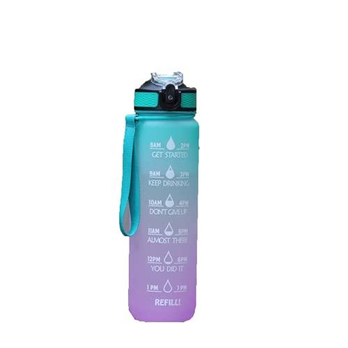 TAIJUN Botella de agua con paja y marcas de tiempo, 1000 ml, sin BPA, cubierta deslizante a prueba de fugas, taza de agua de plástico al aire libre de gran capacidad para bicicleta botella de bebidas