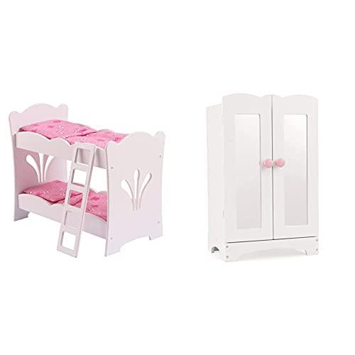 KidKraft Lil' Doll Armoire Armario de Madera Blanca con Perchas, Accesorio para Muebles de Dormitorio para muñecas de 45 cm (60132) + Lil' Doll Bunk Bed Litera de Madera con Ropa de Cama Rosa