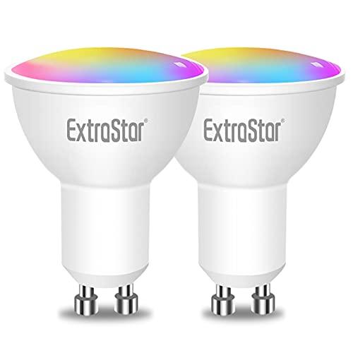 EXTRASTAR Bombilla Alexa LED Intelligente GU10, 6W, 480 Lúmenes, Regulable Multicolor + Luz Cálida o Blanca, Funciona con Alexa y...