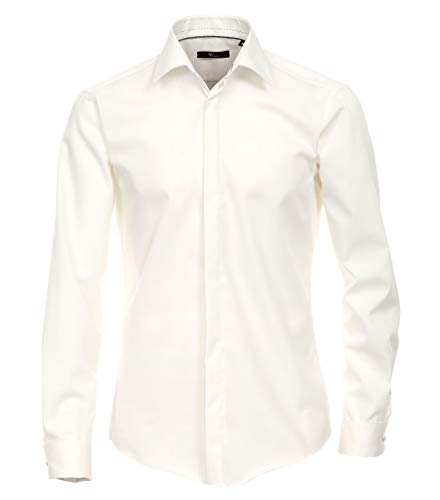 Michaelax-Fashion-Trade - Chemise casual - Uni - Col Chemise Classique - Manches Longues - Homme - Beige - taille col: 36
