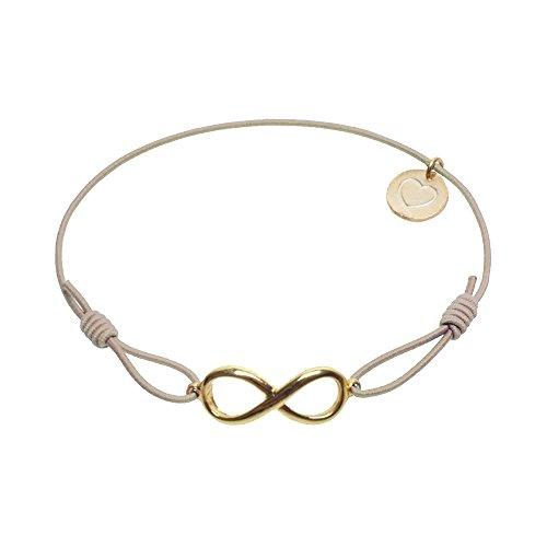 lua accessories - Armband Damen - Elastikband - größenverstellbar - hochwertig vergoldetes Unendlichkeitssymbol - Endless (gold) (beige)