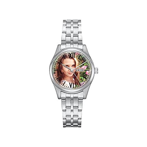Reloj Personalizado Reloj De Fotos Personalizado con Imagen Reloj De Pareja Reloj Plateado Reloj Unisex Reloj Impermeable Reloj De Aleación Cumpleaños para Papá Mamá
