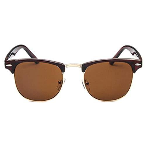 WDDYYBF zonnebril, halfmetaal, voor mannen en vrouwen, spiegel van glas, op zonne-energie, mode, zonnebril, thee