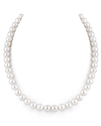 """THE PEARL SOURCE 14K Gold 8-9mm AAAA Quality White Freshwater Cultured Pearl Necklace for Women in 20"""" Matinee Length"""