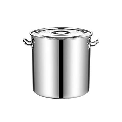 Guoguocy Ollas Rectas Acero Inoxidable Pot inducción crisol de cocinar, de Gran Capacidad Pot, Stockpot con Tapa-Adecuado for Fuentes térmicas Varios (20 cm) (Color : Silver, Size : 25cm*25cm)