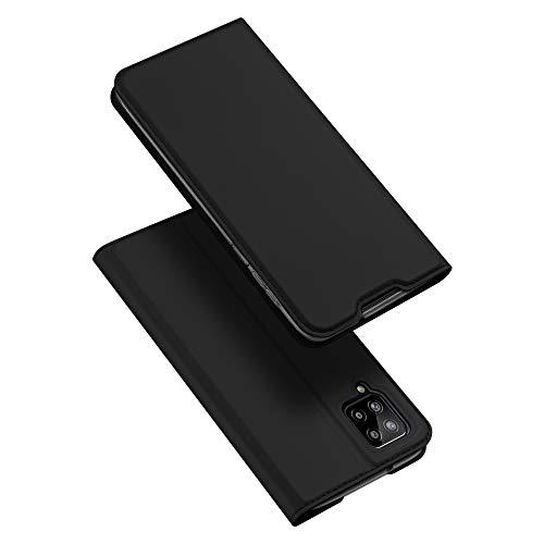 DUX DUCIS Funda Samsung Galaxy A12, PU Cuero Flip Carcasa Fundas Móvil de Tapa Libro para Samsung Galaxy A12 (Negro)