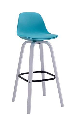 CLP Barhocker AVIKA mit Kunststoff-Sitzschale und Sitzpolster I Tresenhocker mit Rückenlehne und Fußstütze I Barstuhl mit Holzgestell, Farbe:blau, Gestell Farbe:Weiß