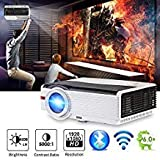 WIKISH 5000 Lumen LED Video Projector Support Bluetooth/Wifi/1080p/Screen Mirroring/HDMI/USB/VGA for Indoor&Outdoor Movie Game DVD Player Fire TV Stick Laptop Tablet Android iOS Windows Devices