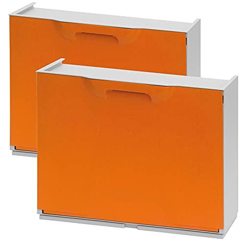 WellHome UNIKA Pack de 2 zapateros en polipropileno color naranja, 40,1x51x17,3 cms. c/u