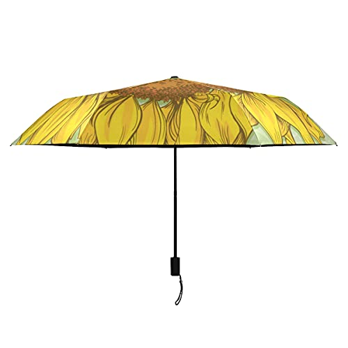Paraguas Compacto Dibujado a mano Realista Vintage Girasol Dibujo Paraguas Mujer Portátil Ligero A prueba de viento Paraguas Mujer Sol Lluvia-perfecto Paraguas de viaje ligero plegable