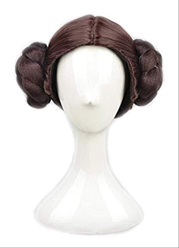 Anime Star Wars Prinzessin Leia Organa Solo Perücke Kurzes braunes Cosplay Perücken Haar mit zwei Brötchen + Perückenkappe