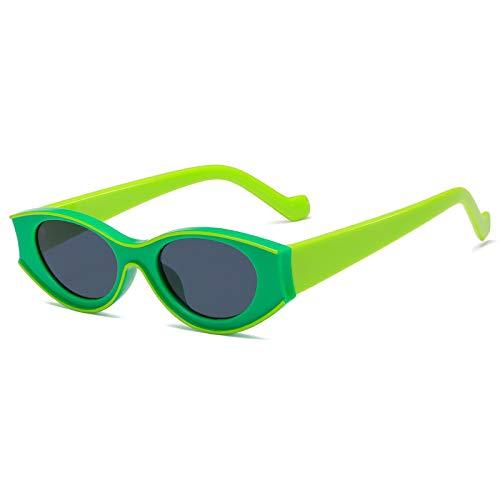Astemdhj Gafas de Sol Sunglasses Gafas De Sol De Ojo De Gato Ovaladas Únicas A La Moda para Mujer, Diseño De Marco Grueso, Gafas De Sol Negras Y Verdes, Gafas De Sol Retro para HoAnti-UV