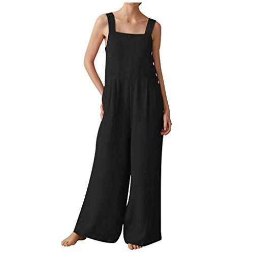 Kecar Jumpsuit Rompers for Women, Women V Neck Backless Jumpsuit Sleeveless Clubwear Pocket Playsuit Romper, Women Pants (Black 3XL)