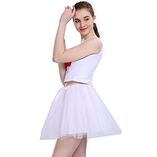 Damen Tütü Rock Minirock 4 Lagen Petticoat Tanzkleid Dehnbaren Mini Skater Tutu Rock Erwachsene Ballettrock Tüllrock Damen Tüllrock für Party Ballett Tanzen Kostüme Weihnachten