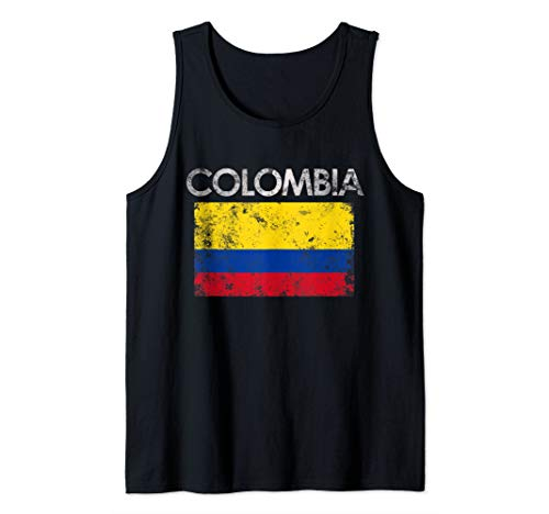 Vintage Colombia Colombian Flag Pride Gift Tank Top
