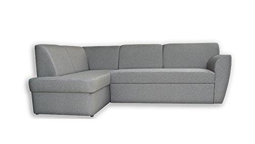 mb-moebel Ecksofa Sofa Eckcouch Couch mit Schlaffunktion und Bettkasten Ottomane L-Form Schlafsofa Polstergarnitur Margo (Ecksofa Links, Grau)