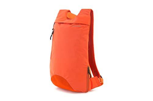 Tucano-Zaino Ergonomico Sportivo Porta Pc, Tasca per iPad, Tablet e MacBook 13 Pollici. Backpack Colore, Arancione, Verde. Zaino Corsa, Sport, Tempo Libero. Riflettente, Catarifrangente