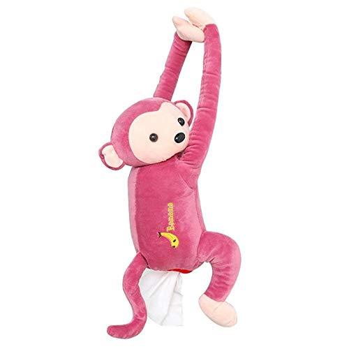HAOTENG Caja de pañuelos titular de dibujos animados mono servilleta de papel cubierta de la caja de pañuelos para colgar en casa oficina coche portátil de la servilleta de papel de animales