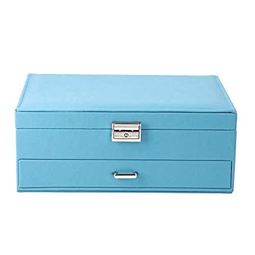 Fen Yun Joyero de dos capas con múltiples compartimentos y cerradura y llave borgoña/gris/azul marino/azul azulado/negro